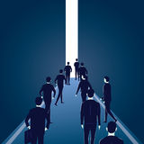 Hope Concept. Business People Walks Forward To Bright Light Royalty Free Stock Photos