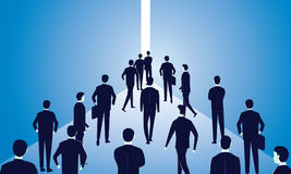 Hope Concept. Business People Walks Forward To Bright Light Stock Photography