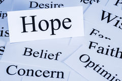 Hope Concept. A conceptual look at hope, optimism, belief, concern, faith, desire Stock Image