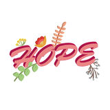Hope concept pink text floral blossoms isolated white background Stock Photo