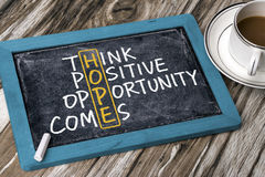 Hope concept: think positive opportunity comes. Handwritten on blackboard stock images