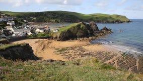 Hope Cove beach South Devon England UK stock video footage