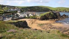 Hope Cove beach South Devon England UK PAN stock video footage