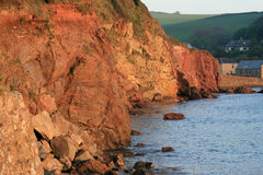 Hope Cove, Devon. Lit by a soft sunset stock photo