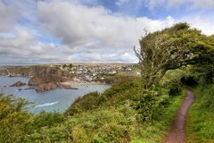 Hope Cove, Devon. Looking towards the popular seaside resort of Hope Cove, Devon, England royalty free stock images