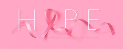hope Design f?r affisch f?r br?stcancermedvetenhetkalligrafi Realistiskt rosa band Oktober ?r cancermedvetenhetm?naden royaltyfri illustrationer