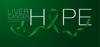 hope Design f?r affisch f?r kalligrafi f?r medvetenhet f?r levercancer Realistiska Emerald Green Ribbon Oktober ?r cancermedveten vektor illustrationer