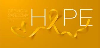 hope Design f?r affisch f?r kalligrafi f?r sarcoma- och bencancermedvetenhet Realistiskt gult band Juli ?r cancermedvetenhetm?nad stock illustrationer