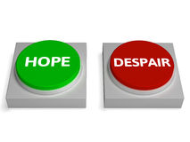 Hope Despair Buttons Show Hopelessness Or Hopeful Royalty Free Stock Image
