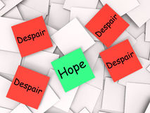Hope Despair Post-It Notes Show Longing And. Hope Despair Post-It Notes Showing Longing And Desperation Royalty Free Stock Photos