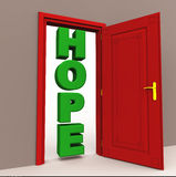 Hope at the door. Word hope showing itself on an open door, in green color. hope and happiness concept Stock Photo