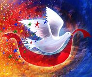 Hope Dove. A painted dove that delivers a banner of hope, bringing color and joy to a night sky stock illustration