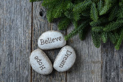 Hope, Dream, Believe in Text Royalty Free Stock Photos