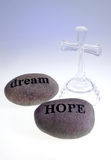 Hope & Dream Carved Rocks Stock Images