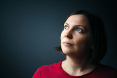 Hope and expectations, beauty portrait of young adult woman Royalty Free Stock Image