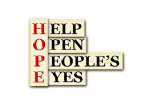 Hope eyes. Acronym concept of Hope and other releated words Stock Photo