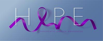 hope För medvetenhetkalligrafi för bukspottkörtel- cancer design för affisch Realistiskt purpurf?rgat band November ?r cancermedv vektor illustrationer