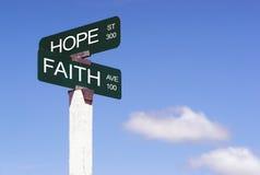 Hope Faith Emotion Idea Signs Crossraods Street Avenue Sign Stock Photo