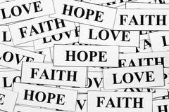 Hope, Faith and Love Stock Photos