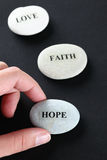 Hope, Faith and Love stones Royalty Free Stock Images