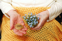 Hope and ForgetMeNot Flowers. Elderly woman holds forget-me-not flowers and the word Hope, engraved on a stone. Image created to support organizations and people Royalty Free Stock Photos