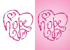 Hope - Heart shape calligraphy with ribbon. Vector Illustration Royalty Free Stock Images