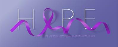 hope Hodgkins design f?r affisch f?r kalligrafi f?r lymfk?rtelcancermedvetenhet Realistiska Violet Ribbon September ?r cancermedv royaltyfri illustrationer