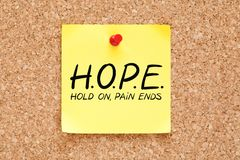 Hold On Pain Ends Hope Concept. HOPE Hold On Pain Ends concept handwritten on yellow sticky note pinned on bulletin cork board stock photos