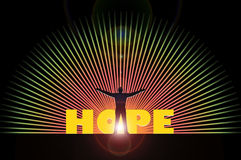 Hope. Illustration of a man against the light with outstretched arms hoping for something Stock Photo