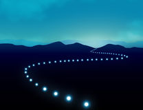 Hope Journey to Success on Long Winding Road Concept. Hope Journey to Success Concept with row of light on long winding road which give sense of direction across Stock Photo