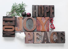 Hope, joy, peace, noel Stock Photography