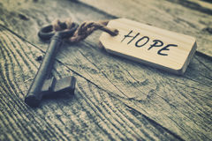 Hope. Key and label. Hope concept Royalty Free Stock Photos