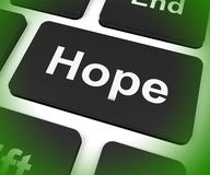 Hope Key Shows Hoping Hopeful Wishing Or Wishful Royalty Free Stock Image