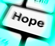 Hope Keyboard Shows Hoping Hopeful Wishing Or Wishful Royalty Free Stock Images