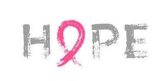 Hope Lettering Pink Ribbon Breast Cancer Awareness Stock Photo