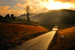 Hope Light. Dramatic sunrise over mountain range at Pang-Ung, the most beautiful reservoir in Mae-Hong-Son province, northern part of Thailand stock image