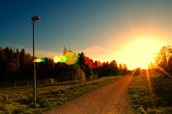 Hope light at the end of the road.  stock image
