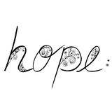 Hope Line art hand drawing with flora in black and white Stock Image