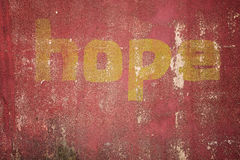 Hope message written on cracked concrete Stock Images