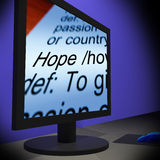 Hope On Monitor Showing Wishes Royalty Free Stock Photo