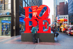Hope sculpture from Robert Indiana in Midtown Manhattan, NYC royalty free stock photography