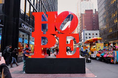 Hope sculpture of Robert Indiana stock image