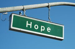 Hope sign. Hope street sign Royalty Free Stock Image