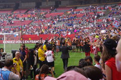 Hope Solo and the American soccer fans at the stadium Stock Images