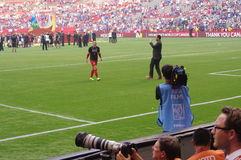 Hope Solo and the media Royalty Free Stock Image