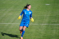 Hope Solo. U.S. national women's goalkeeper Hope Amelia Solo during her 148th cap (Denmark - USA, Albufeira, March 10th 2014 Royalty Free Stock Photos