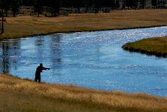 Hope spring eternal. Fly fisherman casting in Yellowstone National Park royalty free stock photo