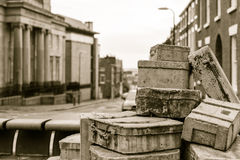 The Hope Street Suitcases Sculpture. ENGLAND, LIVERPOOL - 15 NOV 2015: The Hope Street Suitcases Sculpture Stock Photo