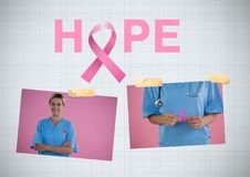 Hope text and Breast Cancer Awareness Photo Collage. Digital composite of Hope text and Breast Cancer Awareness Photo Collage Stock Photo