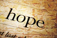 Hope text on grunge background. CLose up of Hope text on grunge background Stock Photography